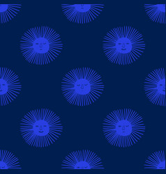 Seamless pattern with funny sun faces vector