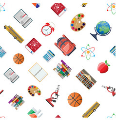 seamless school set pattern vector image