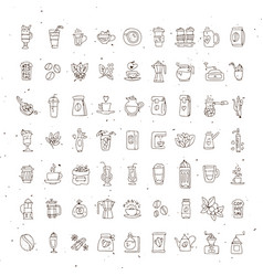 set coffee icons on white background vector image