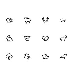 Set of 12 editable animal outline icons includes vector