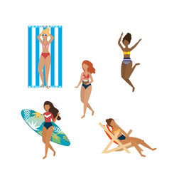set women wearing swimsuit with surfboard and vector image