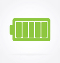 Simple green battery icon vector