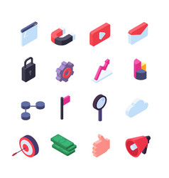 social network isometric icons media and seo vector image