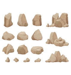 Stone rock stones boulder gravel rubble and pile vector