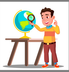 Student looking through a magnifying glass globe vector