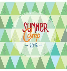 Summer camp for kids background with trees and vector image