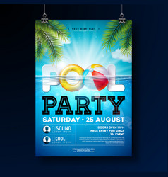 summer pool party poster design template with vector image