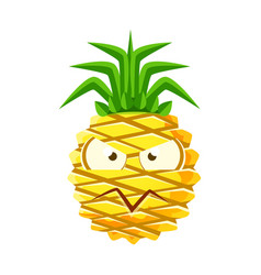 Suspicious pineapple face cute cartoon emoji vector