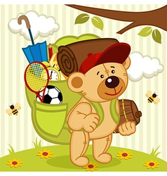 teddy bear goes hiking vector image