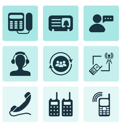 telecommunication icons set with message from user vector image