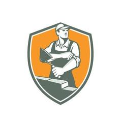 Tiler Plasterer Mason Trowel Shield Retro vector image