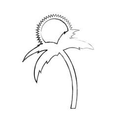 tree palm beach with sun vector image