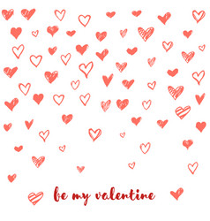 valentines day card with hand drawn doodle hearts vector image