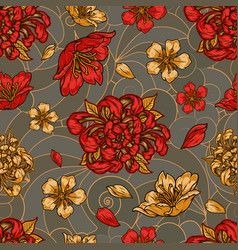Vintage floral colorful seamless pattern vector