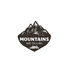 Vintage hand drawn mountain logo the great vector