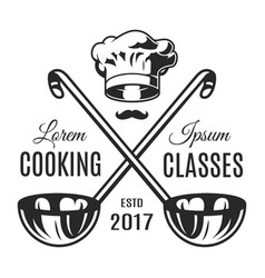 Vintage monochrome cooking classes logotype vector