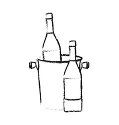 Wine bottle and bucket icon image vector