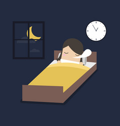 Woman is sleeping on the bed vector