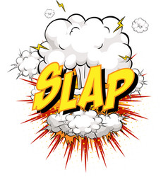 word slap on comic cloud explosion background vector image