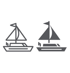 yacht line and glyph icon transportation and boat vector image
