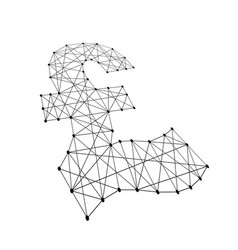 Pound sterling sign from polygonal black lines vector