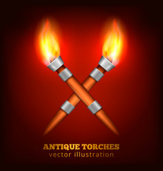 antique torches realistic background vector image