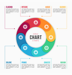 Circle chart infographic template with 8 parts vector