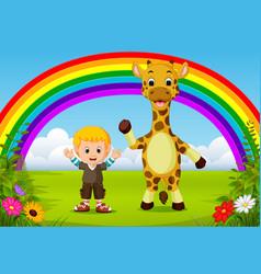 cute boy and giraffe at park with rainbow scene vector image