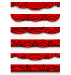 red silk set Pelmet and silk red curtains vector image vector image