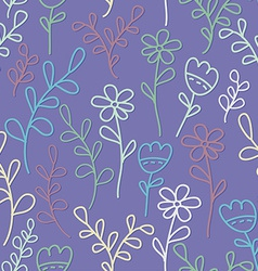 Seamless pattern with flowers and branches Lilac vector image vector image