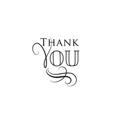 Thank you card handwritten lettering calligraphic vector