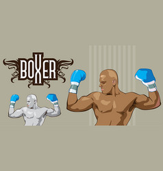 boxer in his winning moments black and white colo vector image