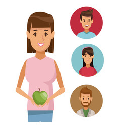 colorful poster half body woman with apple fruit vector image vector image
