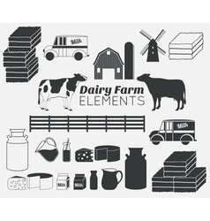 dairy farm elements vector image