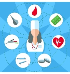 Doctor woman isolated objects set of medical vector image vector image