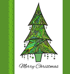 doodle card with green christmas tree and vector image vector image
