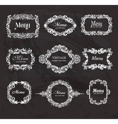 Set of vintage frames on the chalkboard vector image vector image