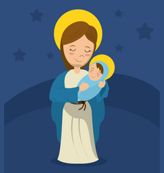 virgin mary and child jesus blue bakcground vector image vector image