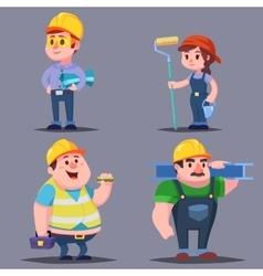 Builders cute Cartoon Characters set vector image