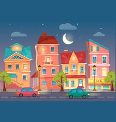 cartoon city street at night street lights vector image