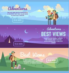 climbing trekking and hiking horizontal vector image