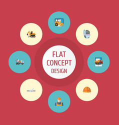 flat icons tractor cement blender pipeline valve vector image vector image
