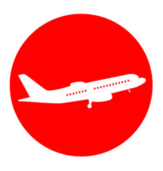 flying plane sign side view white icon vector image vector image