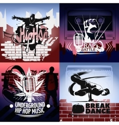 Four Hip Hop Icon Set vector image