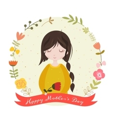 Happy mothers day card with adorable cartoon girl vector image