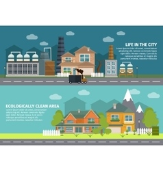 Industrial Buildings And City Flat Banners vector image vector image