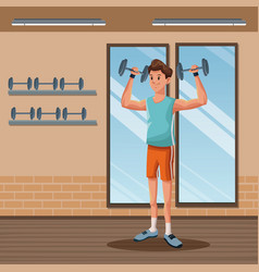 man sports weight training gym workout vector image vector image