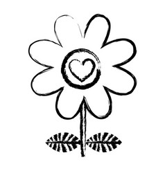 monochrome blurred silhouette of daisy flower with vector image
