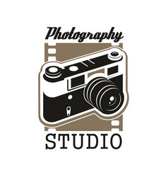 photo studio icon with isolated retro camera vector image vector image