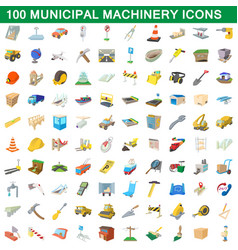 100 municipal machinery icons set cartoon style vector image